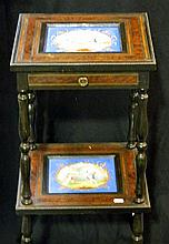 An antique one drawer, two tier side table with insert porcelain plaques with banded burr walnut and satin wood stringing