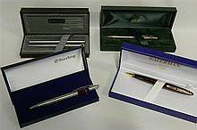 A cased Waterman pencil, a Cross rolled gold pencil, a cased set Parker fountain pen and pencil and a cased Sterling biro.
