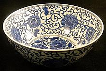 Blue and white Chinese bowl .
