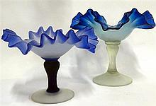 Two Victorian frilled edge glass compotes