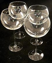 Four contemporary crystal goblets with signatures