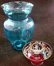 An antique Bohemian ruby glass bowl and Victorian vase