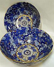 Two Chinese blue and gilt porcelain bowls