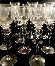 A part suite of eleven wine glasses
