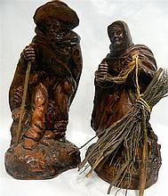 A pair of terracotta peasant figures