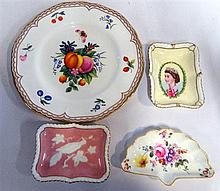Worcester Cabinet plate together and three Royal Crown Derby smaller dishes. Early Derby teacup (Puce mark)
