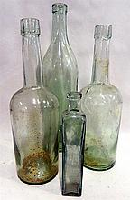 4 antiques green glass bottles