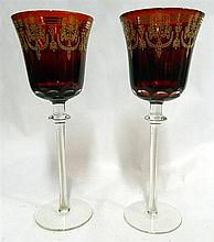 A pair of Bohemia long-stemmed crystal ruby glasses