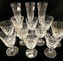 A set of ten Stuart crystal goblets and three crystal champagne flutes