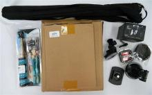 A quantity of assorted photographic sundries incl. filters, monopod etc.