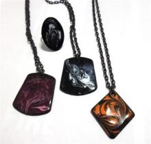 An Interesting Collection of Enamel Jewellery including a Ring and Pendants