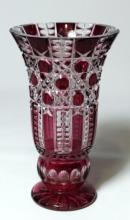 A Bohemia crystal ruby case cut glass vase