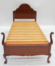 A Queen Anne style single size bed & base