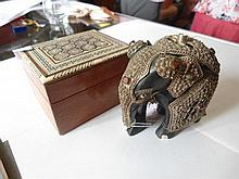 2 items. Wooden Indian elephant, wooden card box