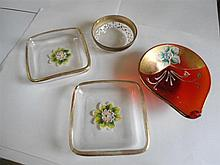4 glass enamel pin dishes