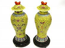 A 20th century Pair of Chinese Vases & Covers, 26cm