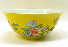 An enamelled Chinese Yellow Glazed Bowl, 15.5cm