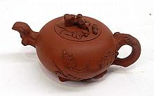 A Wang Yi Xian Terricotta Autumn Tea Pot Depicting Vines 10cm dia x 7cm