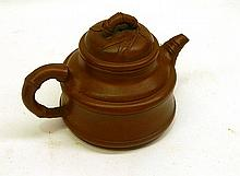A Gu Jung Zhou Terricotta Tea Pot With Bamboo Style Handle And Lid 9.5cm dia x 7cm