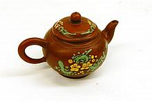 A Chinese Yixing Zisha Teapot, Baluster Form With Enamel Birds 8cm dia x 6cm