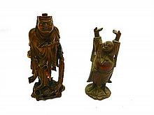 Two Wood Carved Chinese Happy Buddha's 17cm and 15cm