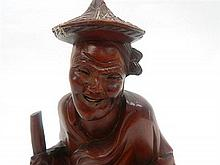 A Wood Carving of a Chinese Rice Farmer 29cm
