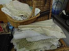 Embroidered cloths, table cloths, linen and bedspread