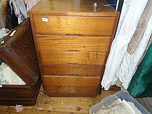 A set of oak drawers and contents including ties, scarfs etc