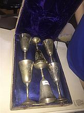 A Boxed Set of Pewter Goblets