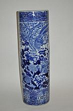 A 19th Century Chinese ceramic cane stand, blue and white decorated, 78cmH