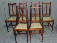 Set of six Federation blackwood dining chairs with upholstered seats