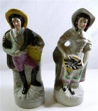 A pair of Staffordshire flat back figures