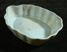 A Chinese Leaf Shaped Brush Washer with Crackle Turquoise Glaze