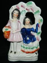 A nineteenth century Staffordshire flatback figure of a courting couple