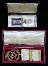 Masonic Royal Arch Companion's Breast Jewel in original box. Together with a Masonic Mark Member breast jewel in original Kennings o...