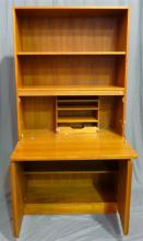 A 1960s Parker style secretaire bookcase with illuminated fitted writing compartment