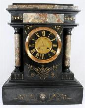 A J. Marti Medialle De Bronze marble and slate mantle clock of grand proportions c.1880