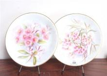 A pair of Royal Worcester cabinet plates, Flavelle Brothers Limited, hand decorated by R. Austin, pink gum blossom, 23.5cm D