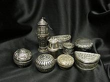 A Collection of Thai/Burmese Silver Lime Containers