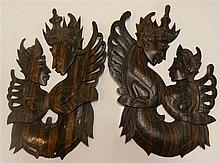 Pair of carved timber wall plaques (picturing the Garuda)