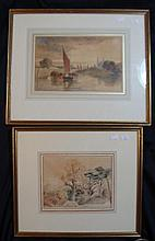 Dutch School (19th Century) Cottage by the Wood + On the River (2) Each watercolour