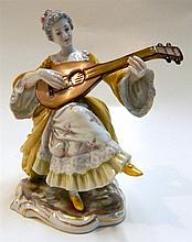 Capodimonte porcelain figure, lady with mandolin