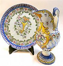 A hand-painted Portuguese ewer and wall plaque