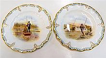 Two Royal Crown Derby cabinet plates