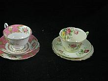 A Royal Doulton 'Moss Rose' trio, together with a Royal Albert 'Lady Caryle' trio.