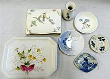 A collection of ceramics, including a Wedgwood trinket box, Wedgwood, Royal Copenhagen and Delfts pin trays, and a French porcelain...