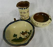 Three pieces of Torquay ware pottery items
