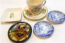 A Gouda and three Spode pin dishes, together with a Royal Doulton bush flowers cup and saucer