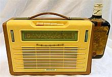 Vintage Phillips (Made in Holland) portable radio together with Ballantynes Scotch Whiskey transistor radio