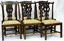 Six George III dining chairs with floral upholstery